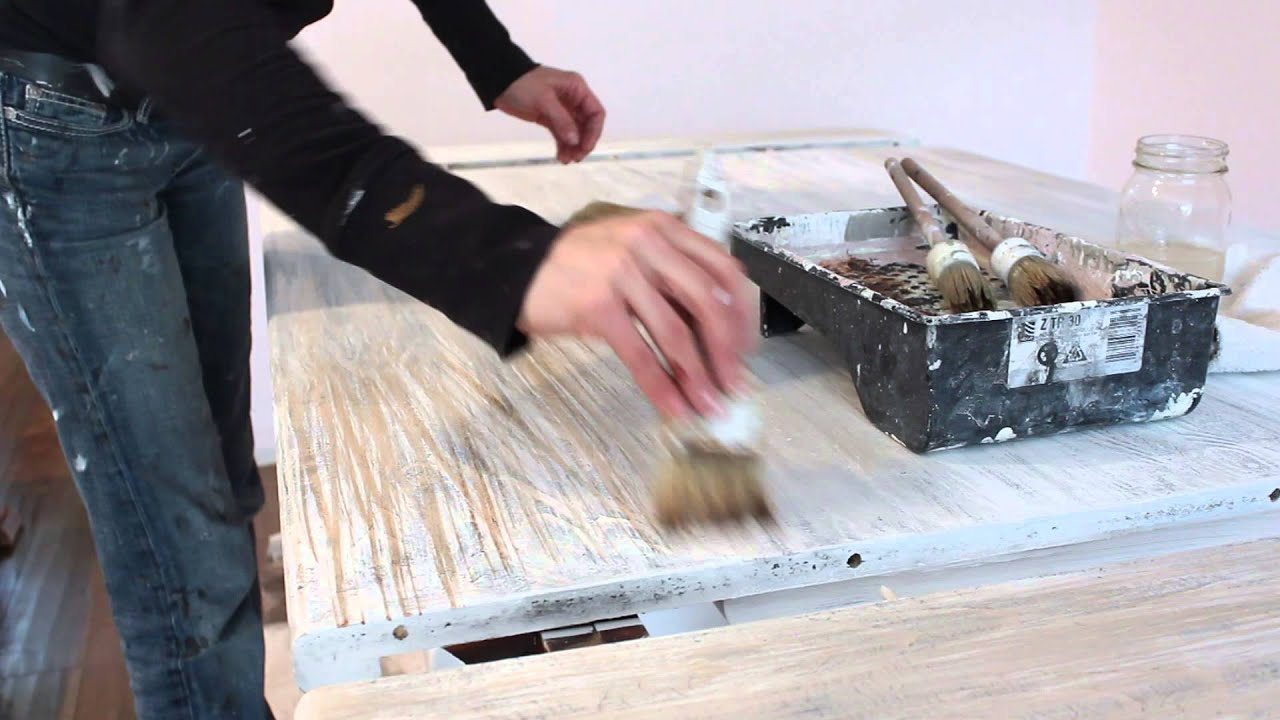 Faux Wood Grain Chalk Paint Table Youtube