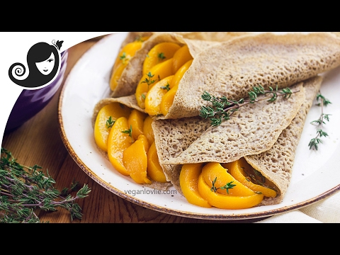 Buckwheat Crepes with Lemon Thyme Peach Filling | Gluten-free Crepes + Vegan Recipe