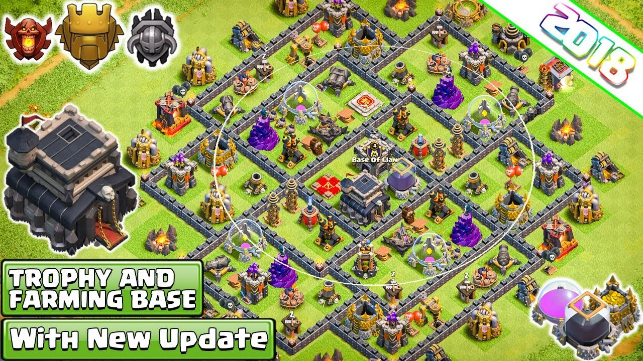 new town hall 9 th9 farming trophy base 2018 th9 hybrid base