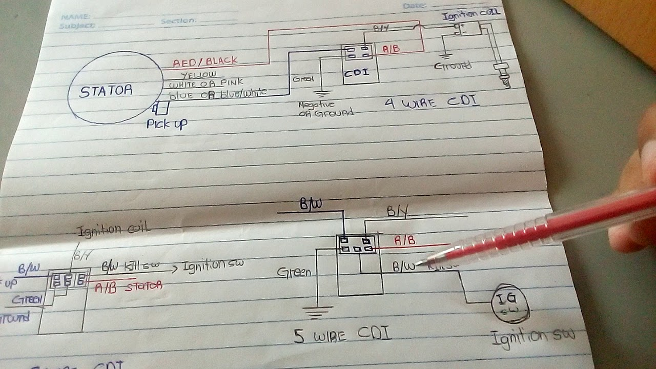 How To Wiring Diagram Cdi 4 5 6 Wire Youtube