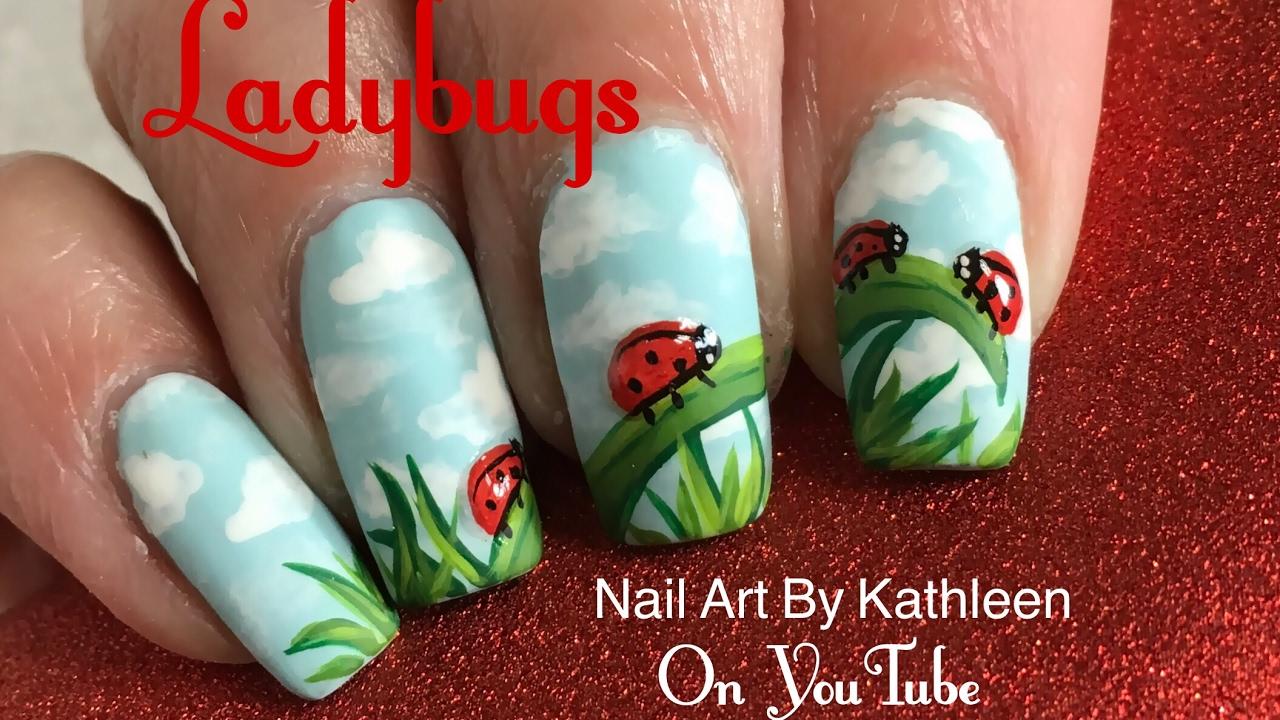 Ladybug Nail Art Tutorial Matte Nails With 3 D Ladybugs Youtube