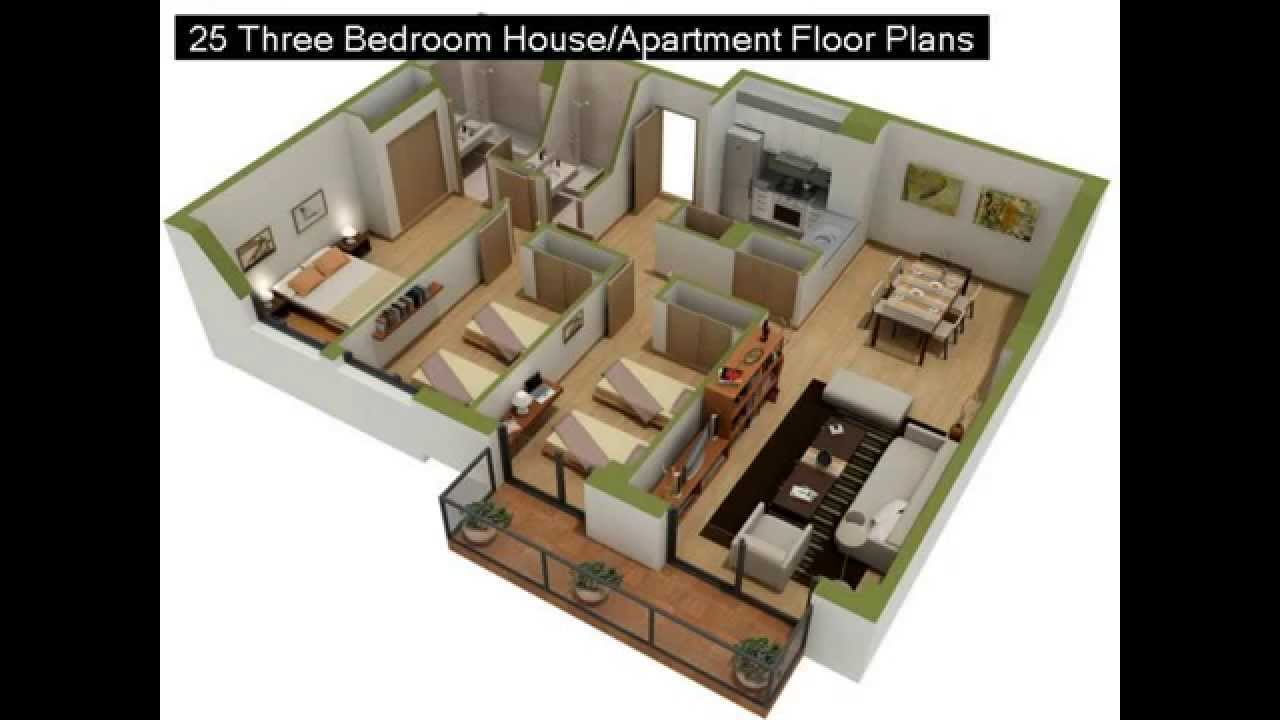 25 Three Bedroom House Or Apartment Floor Plans Part 88