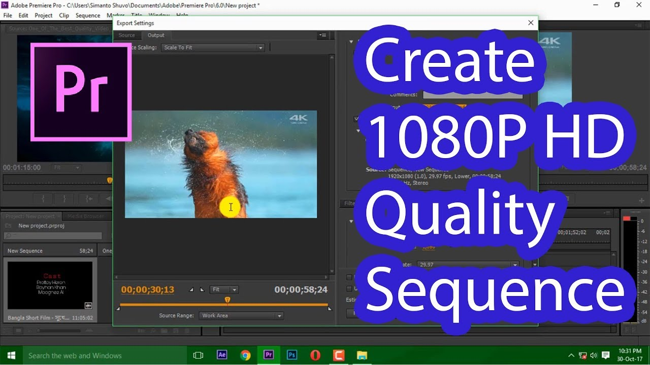 How To Create 1080P Full HD Quality Sequence ৷৷ Adobe Premiere Pro Tutorial