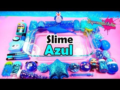 Mezclando todo Azul en Slime transparente (Agregando cosas Random) / Supermanualidades
