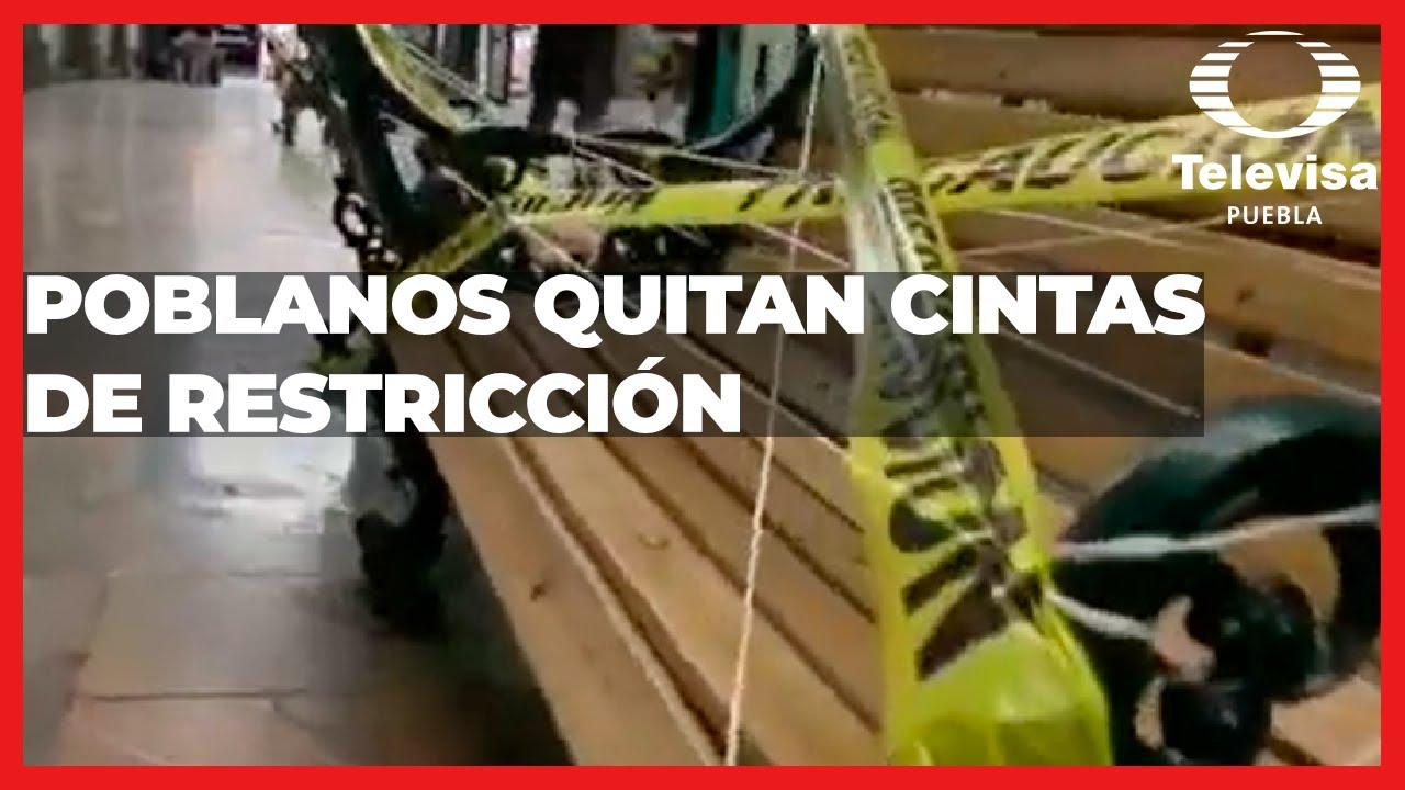 Cintas de restricción en bancas del pasaje   Las Noticias Puebla