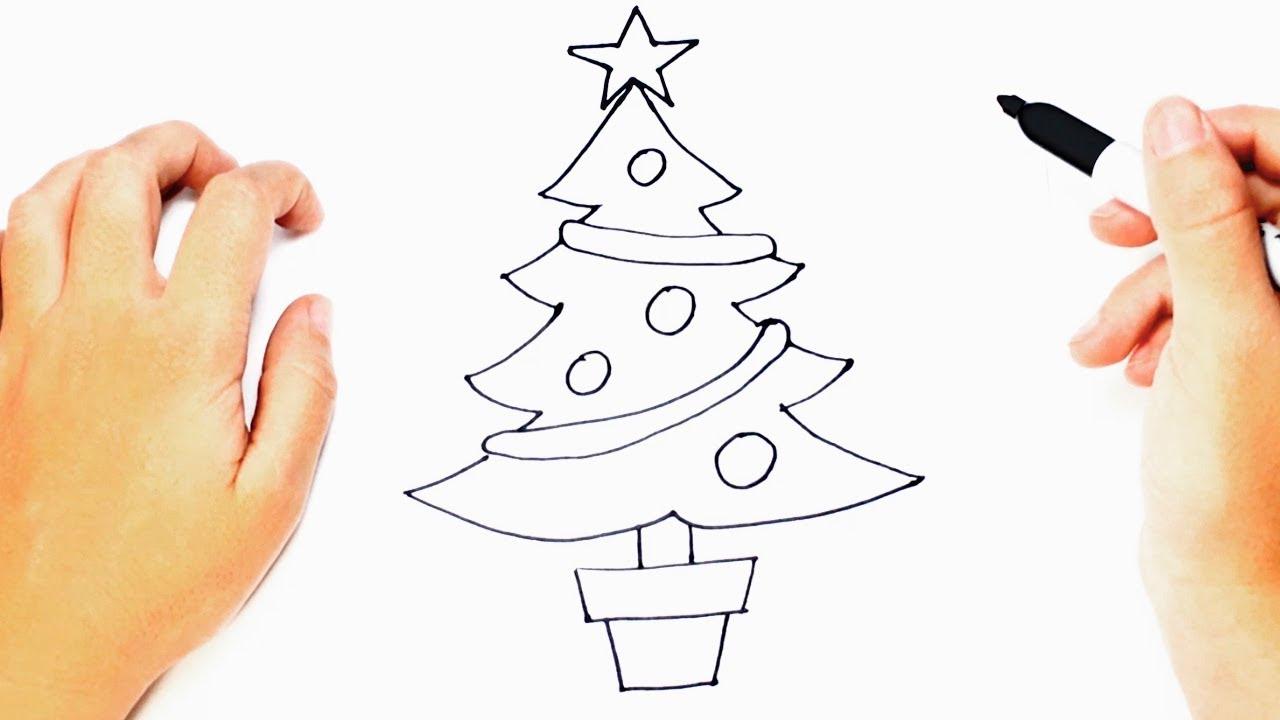 Como Dibujar Un árbol De Navidad Paso A Paso Youtube