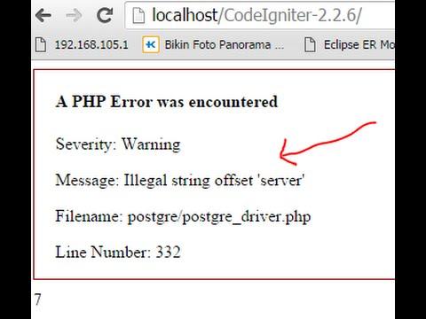 Codeigniter problem - Illegal string offset 'server' when using PostgreSQL