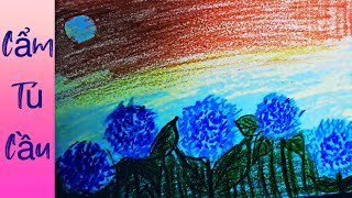 Tập bé vẽ tranh Sáp màu vườn hoa Cẩm Tú Cầu