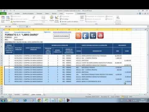Asientos Contables Automaticos en Excel - YouTube