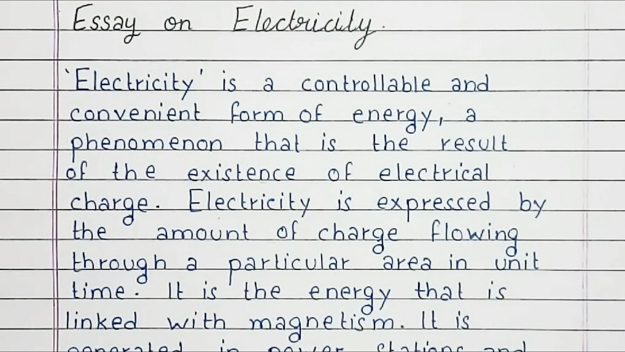 Short Essay On Electricity In English For Students And Children • English Summary