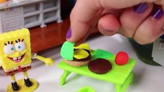 🌟 PEPPA PIG Y BOB ESPONJA 🌟 Una burguer Cangreburguer   Videos de juguetes en español