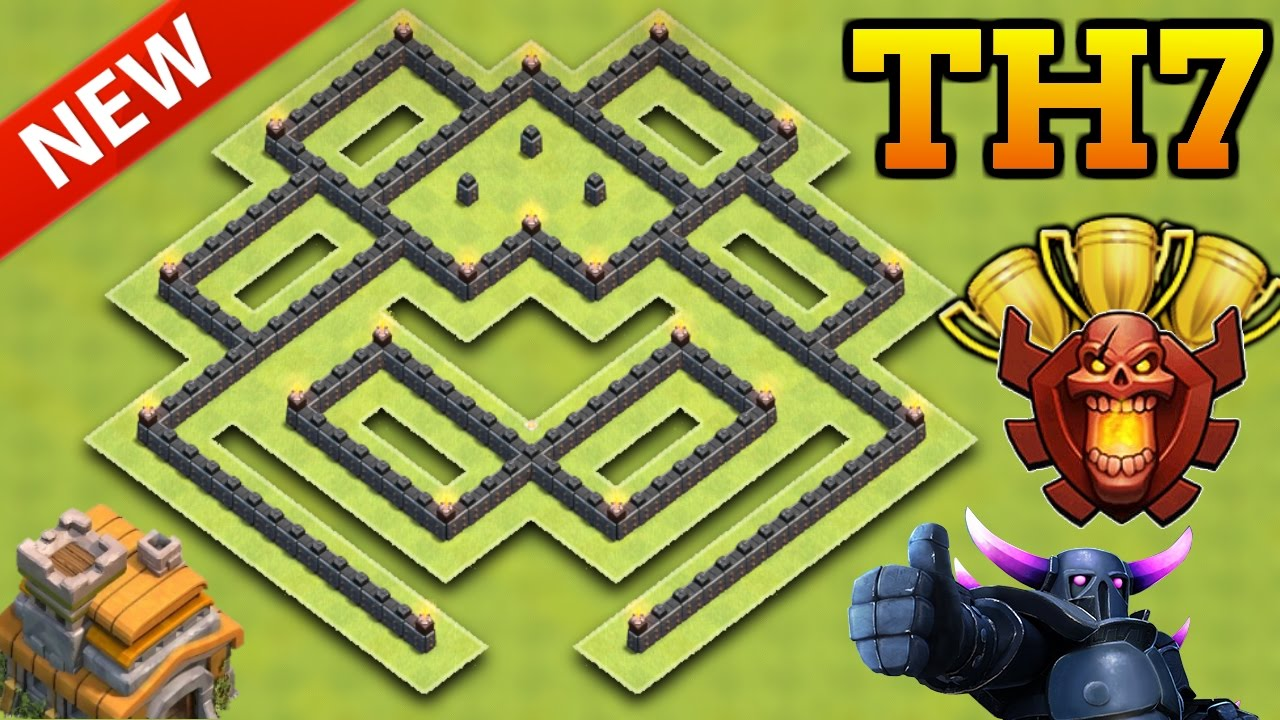 Clash Of Clans New Best Town Hall 7 Trophy Base Th7 Trophy Defense Base Youtube
