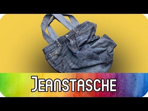 DIY Upcycling Einkaufstasche aus alter Jeans nähen / Jeanstasche nähen   kreativBUNT