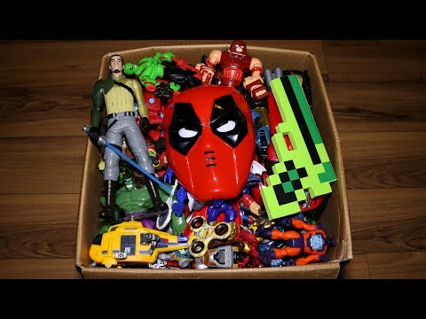 Box with Toys: Action Figures, Cars, Kinder Joy, Marvel Mashers and More