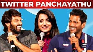 Vishal, Trisha, Arya, Varalaxmi Twitter Panchayathu | Sandakozhi 2 | TT 17
