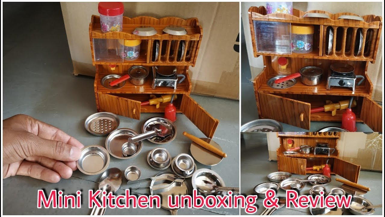 Mini Kitchen For Real Steel Cooking Set Little Cooking Kitchen Unboxing Kids Kitchen Set