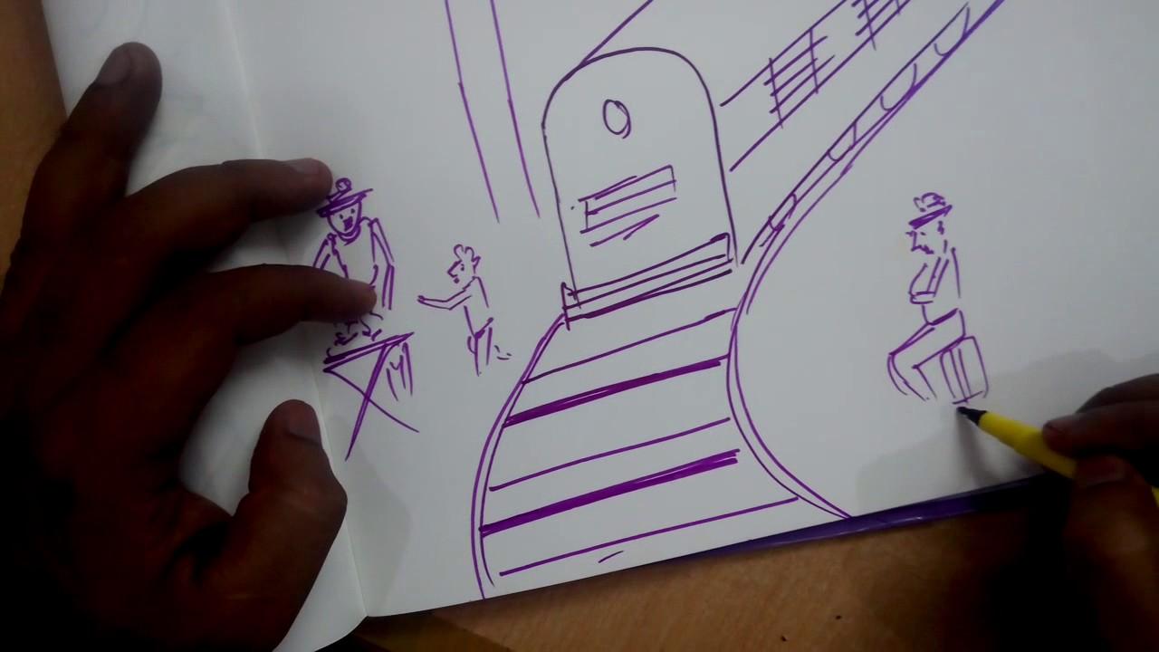 Railway Station Scene Drawing Youtube