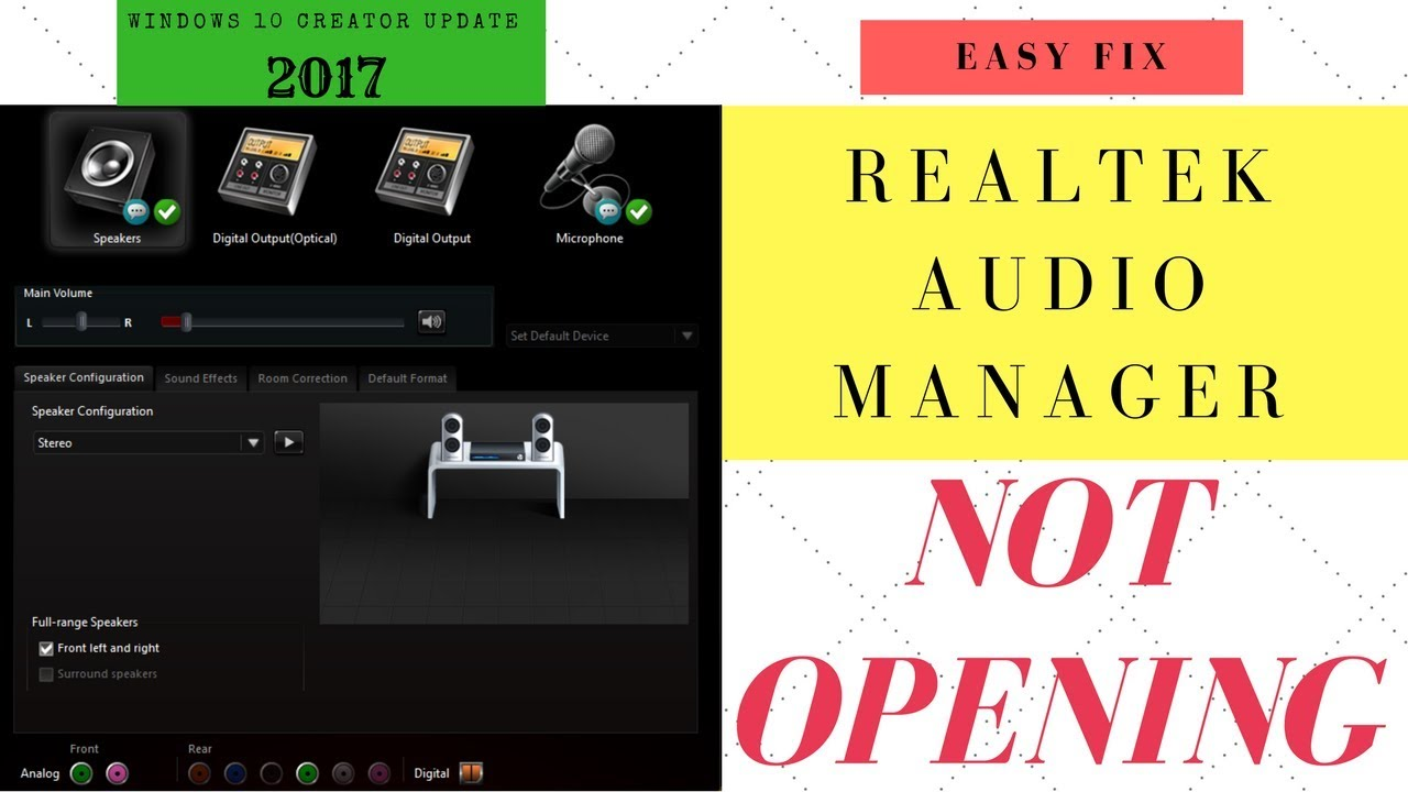 [Fixed] Realtek audio manager not working /opening in windows 10 creator  updates -October-2017