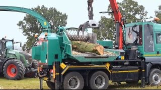Giant Wood Chipper On Man Truck Lorry In Action
