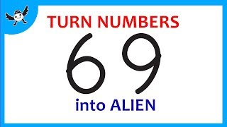 How To Turn Numbers 69 into Cartoon ALIEN – Learn Doodle Art on Paper for Kids ✔