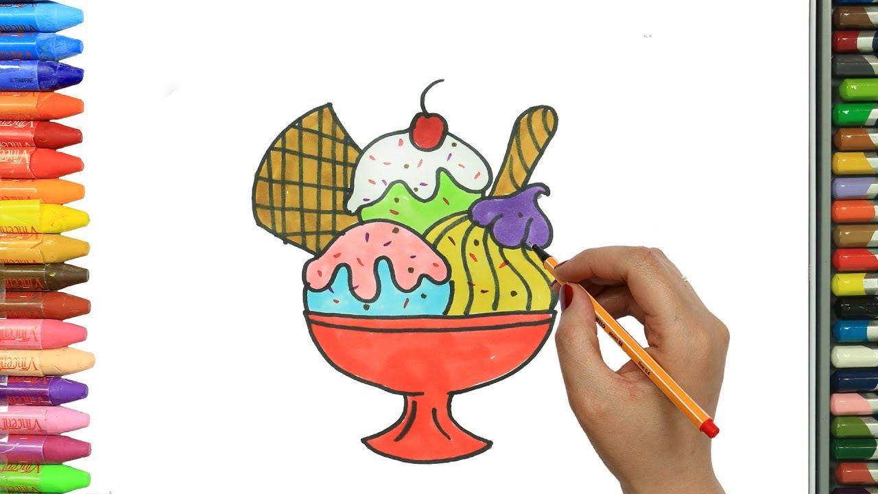 الرسم والتلوين للأطفال كيفية رسم كوب ايس كريم الرسم للأطفال الأطفال ألوان الفيديو Youtube