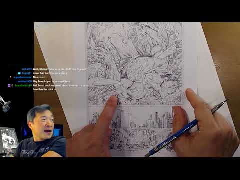 Drawing a page of comics featuring Superman! Art Stream with Jim Lee