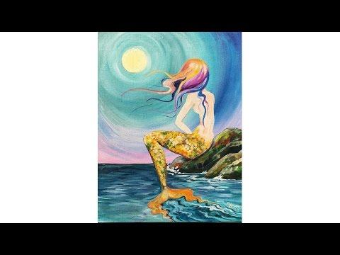 Learn to paint Mermaid Cove Beginner Acrylic tutorial Angelooney