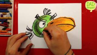 How to draw a angrily Birdy / Art for kids / oil pastel