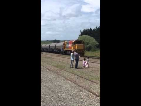 Kiwi Rail passes the Eketehuna Express at Woodville