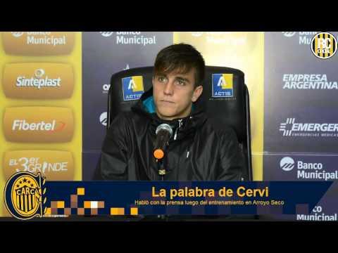 Cervi habló con la prensa luego del entrenamiento en Arroyo Seco