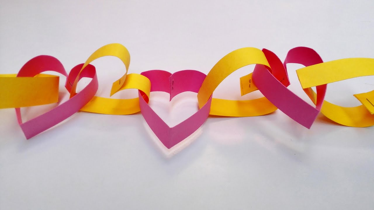 Paper Heart chain decoration for Valentines Day || Paper Heart Chain -  YouTube