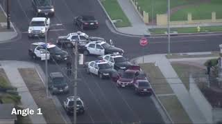 Los Angeles Police chase pair of car jackers (two angles) (Sept. 26, 2017)
