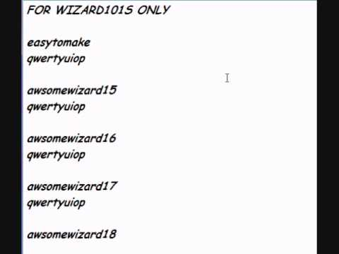 free wizard101 accounts and passwords 2016