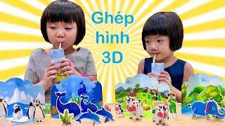 Trò chơi thi uống sữa TH true MILK công thức TOPKID được tặng 4 bộ đồ chơi ghép hình 3D