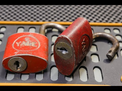 [196] Two Antique Yale Wafer Lock Padlocks Picked