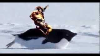Napoleon riding a penguin