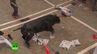 Разъяренные быки забодали 23 человека в Испании(В ходе традиционного забега быков в испанской Памплоне пострадало 23 человека. Большинство травм было получ..., 2013-07-13T16:21:51.000Z)