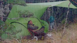 Camping in heavy rąin - just rain, tents and dog ASMR