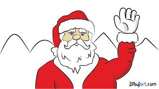 Dibujo de Papa Noel -Te deseo una Feliz Navidad y una noche buena!  — Dibujos de Navidad