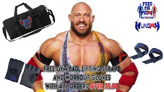 Ryback Feed Me More Nutrition Weekend Live Free Gym Bag, Lifting Straps and Gloves!