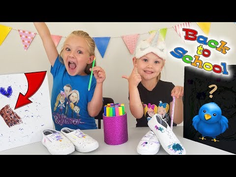 3 Marker Challenge!!! Coloring Shoes & Back to School Supplies!