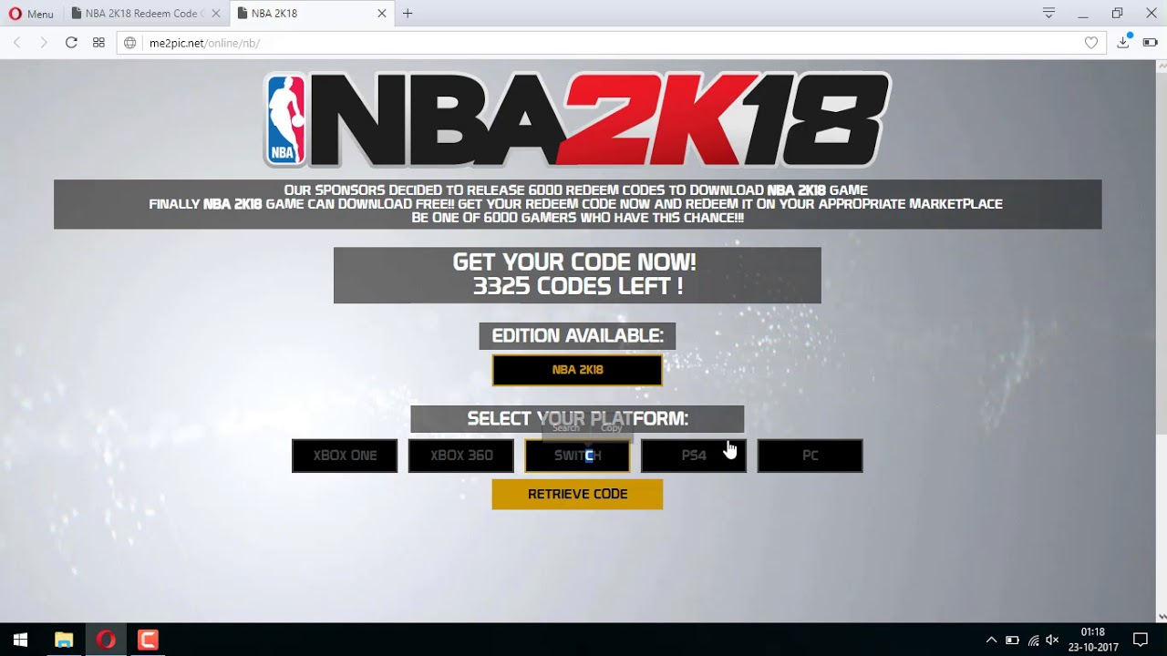 NBA 2K18 Redeem Code to Download Xbox ONE PS4 PC