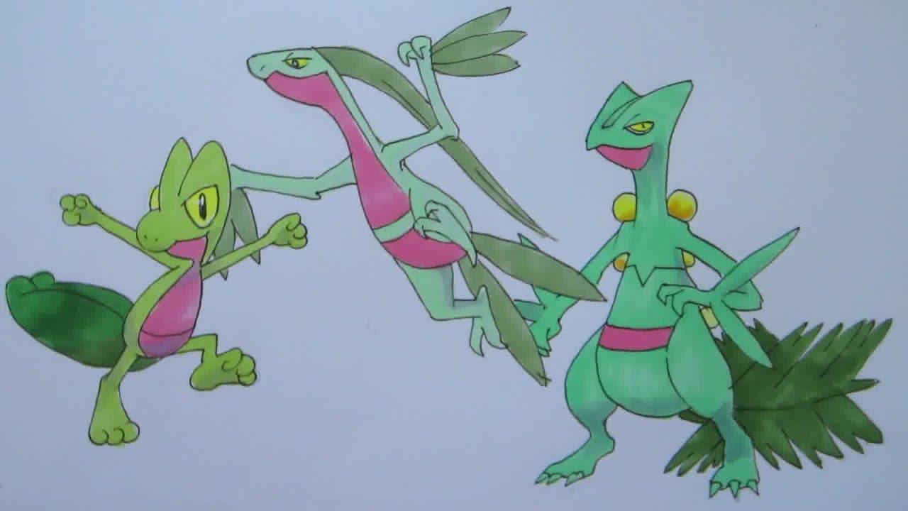 How to draw Pokemon: No. 252 Treecko, No. 253 Grovyle, No ...