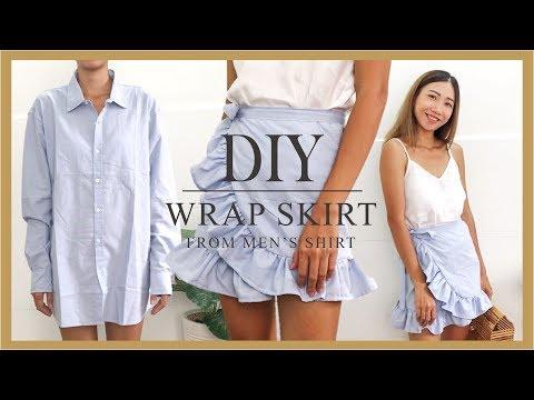 DIY wrap skirt - Refashion men's shirt into wrap skirt - DIY Ruffle skirt
