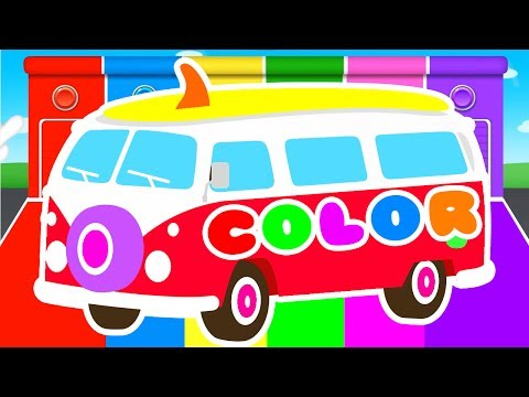 FUNNY BUS & COLORS for Kids - Cars Learning Educational Video - Superheroes for babies toddlers