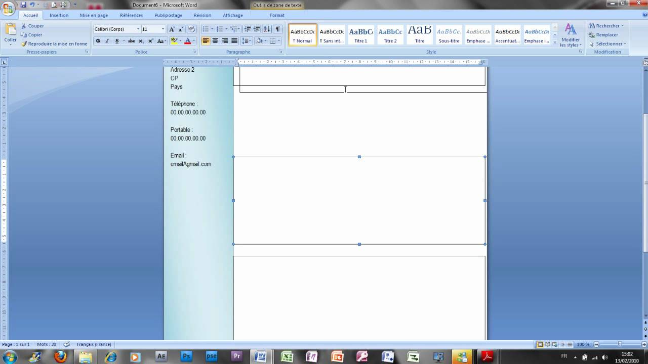 faire cv sur wordpad