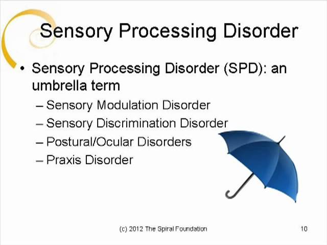 sensory processing disorder spd Definition of spd sensory processing disorder or spd (originally called sensory integration dysfunction) is a neurological disorder in which the sensory information that the individual perceives results in abnormal responses.
