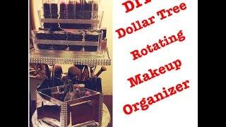 DIY Dollar Tree Glam Spinning Bling Mirrored Makeup Organizer - Less than $11