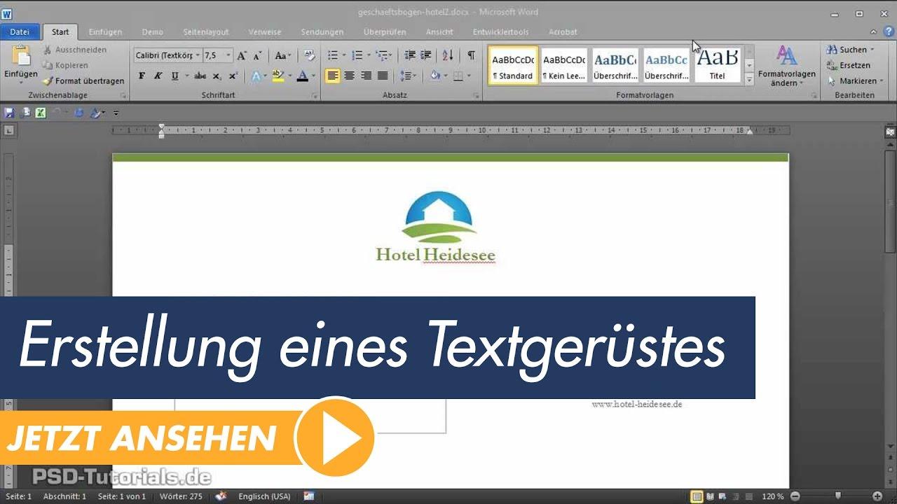 Microsoft Word Tutorial Der Geschäftsbrief Erstellung Eines