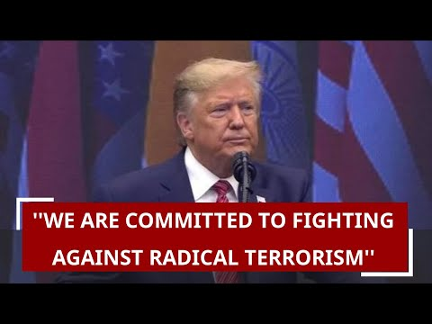 Donald Trump says from NRG Stadium, ''We are committed to fighting against radical terrorism''